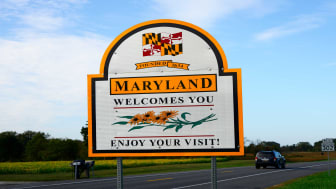 picture of welcome to Maryland road sign