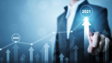 photo illustrating concept of stocks rising in 2021