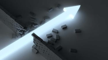 Concept art of a stock chart breaking through a wall