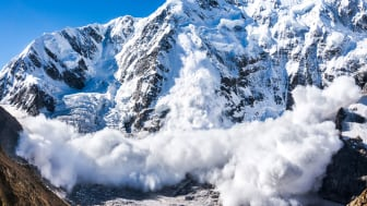 An avalanche on a mountainside