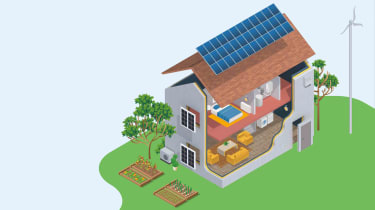green energy house with solar panels