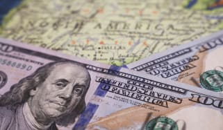 picture of money on a U.S. map
