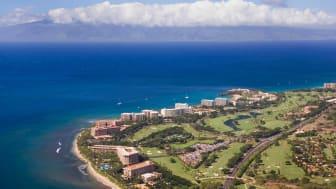 Beach resorts near Lahaina, Maui, Hawaii.