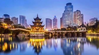Cityscape of Guiyang at night, Jiaxiu Pavilion on the Nanming River. Located in Guiyang City, Guizhou Province, China.