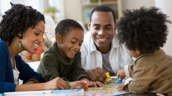 A family playing board games