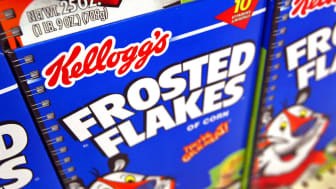 ROLLING MEADOWS, IL - JULY 28:Boxes of Kellogg's Frosted Flakes cereal are seen displayed inside a Wal-Mart store July 28, 2003 in Rolling Meadows, Illinois. With strong company wide sales ri