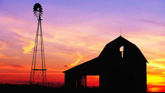 An open Indiana barn at sunset
