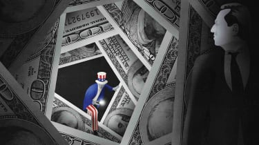 drawing of Uncle Sam with a flashlight looking for a tax cheat hiding behind money