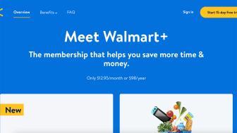 Screenshot of Walmart+ home page