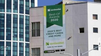 NerdWallet banner on a building