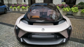 NEW YORK, NY - SEPTEMBER 12: A vehicle from electric car maker NIO sits outside of the New York Stock Exchange (NYSE), September 12, 2018 in New York City. The Shanghai-based electric car com