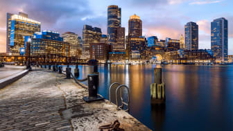 picture of Boston skyline from harbor