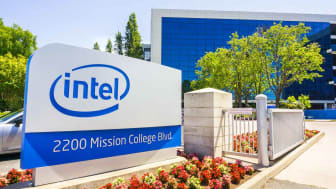 May 3, 2018 Santa Clara / CA / USA - Intel sign located in front of the entrance to the offices and museum located in Silicon Valley, south San Francisco bay area