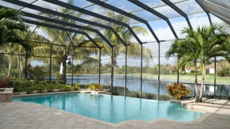 An enclosed Florida swimming pool