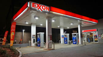 Washington DC, USA-November 29, 2014:This Exxon gas station was spotted at night in Northwest Cleveland Park in Washington DC.It is empty at this hour though gas prices have fallen making tra