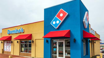 "Hickory, NC, USA-2/28/19: A Domino's Pizza, also branded just as ""Domino's"", is an American pizza chain restaurant with headquarters in Ann Arbor, Michigan."
