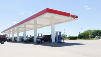 Buffalo, TX, USA - April 23, 2017; A Exxon Mobil gas station where travelers are refueling their vehicles.Exxon Mobil is a oil manufacturing company that provides oil products all across the