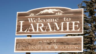 Welcome to Laramie - Home of the University of Wyoming sign along route 287