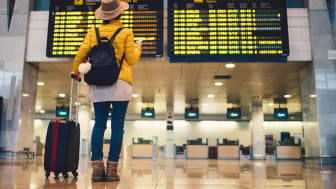 A person looks at flight information