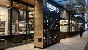 Seattle, Washington USA - NOVEMBER 27, 2017: Amazon Go is a new kind of store with no checkout required. Customers can just walk out with no checkout or line. Sensors automatically detect pur