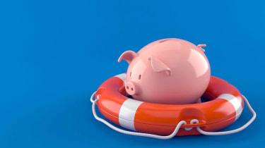 piggy bank in life preserver