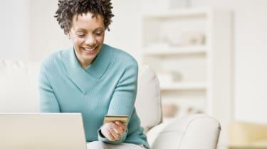 African woman shopping online