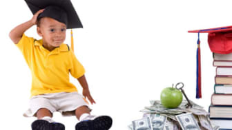 Going to school is your future. Education, learning, teaching. A graduation cap with an apple and alot of money