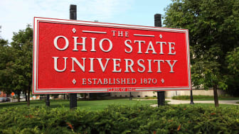 View of the entrance sign to Ohio State University