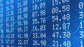 Stock exchange graph and numbers in blue