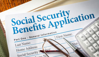 A picture of a Social Security benefits application.