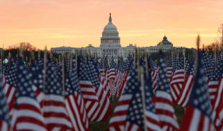 Flags are placed in the National Mall ahead of Inauguration Day