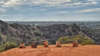 Handmade benches on an overlook of Claremont, Calif.