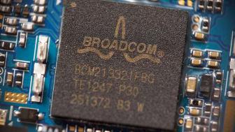 Saransk, Russia - December 11, 2019: A Broadcom chip close up.