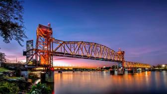 The Junction Bridge in Little Rock Arkansas at dusk