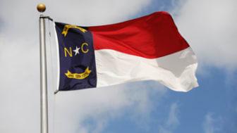 close-up of the waving north carolina flag
