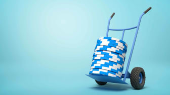Stack of blue chips on a trolley
