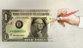 drawing of a one dollar bill being erased by a pencil eraser