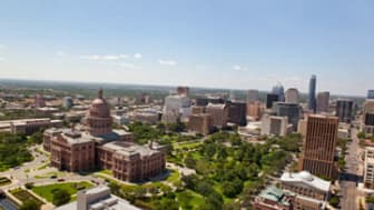 Aerial of Austin Texas Capitol and city