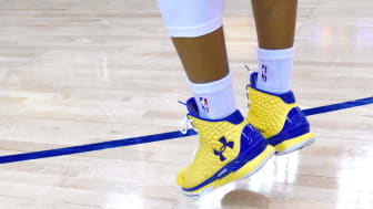 OAKLAND, CA - MAY 27:The Under Armour Curry One worn by Stephen Curry #30 of the Golden State Warriors is seen as he warms up before taking on the Houston Rockets in game five of the Western