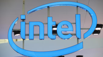 HANOVER, GERMANY - MARCH 14:The Intel logo hangs over the company's stand at the 2016 CeBIT digital technology trade fair on the fair's opening day on March 14, 2016 in Hanover, Germany. The