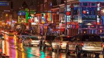 The neon lights of the music district of downtown Nashville, Tenn.