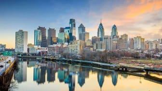 Downtown Skyline of Philadelphia, Pennsylvania at twilight in USA