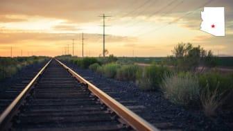 Railroad tracks near San Tan Valley, Ariz.