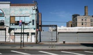Shut down store fronts in Rockaway, Queens, New York City