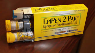 HOLLYWOOD, FL - AUGUST 24:In this photo illustration, EpiPen, which dispenses epinephrine through an injection mechanism for people with severe allergies, is seen as the company that makes it