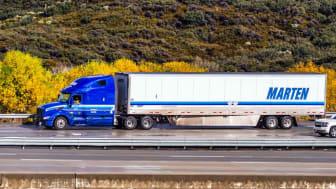 Marten Transport truck driving on the freeway; Marten Transport, Ltd is an American trucking company (Dec 8, 2019 Los Angeles / CA / USA - Marten Transpor