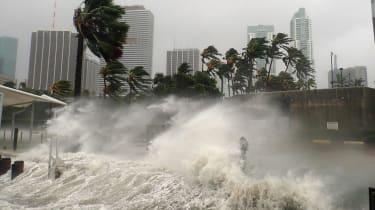 Hurricane-driven waves pound the coast.