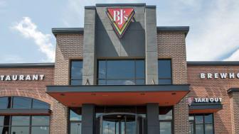 Philadelphia, Pennsylvania, July 29, 2018: Entrance to BJ's Brewhouse restaurant front in Philadelphia Pennsylvania USA.