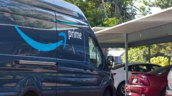 Amazon Prime delivery van in residential parking lot in Salem, Oregon