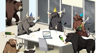 illustration of bulls and bears stock market